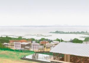 雨にかすむ琵琶湖岸