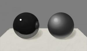 光沢のある球と光沢のない球