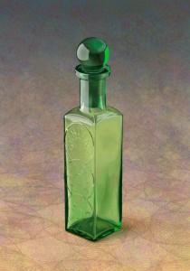 緑のアンティークビン